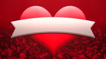 animation closeup motion grand coeur romantique et petit sur fond rouge Saint Valentin. video