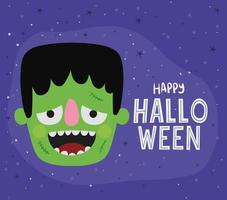 Halloween green monster cartoon vector design