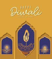 Happy diwali mandalas candles in windows vector design