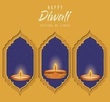 Happy diwali candles in windows vector design