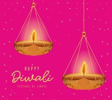 Happy diwali hanging candles on pink background vector design