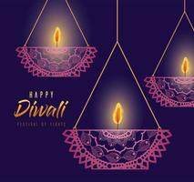 Happy diwali hanging mandalas candles on purple background vector design