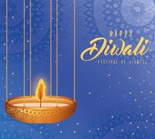 Happy diwali hanging candle on blue background vector design