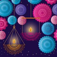 Happy diwali hanging candles with blue and pink mandalas vector design
