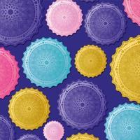 multicolored mandalas background vector design