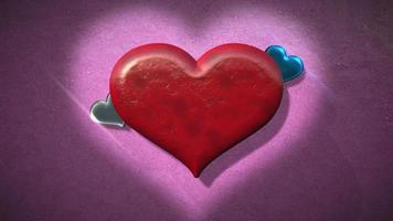 animatie close-up beweging grote romantische harten op roze Valentijnsdag glanzende achtergrond. video
