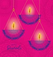 Happy diwali hanging mandalas candles on pink background vector design