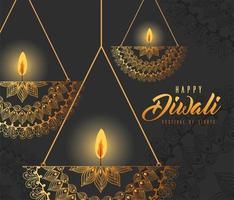 Happy diwali hanging mandalas candles on gray background vector design