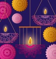 Happy diwali hanging candles with orange and pink mandalas vector design