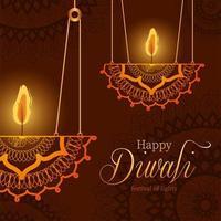 Happy diwali hanging mandalas candles on brown background vector design