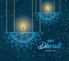 Happy diwali hanging mandalas candles on blue background vector design