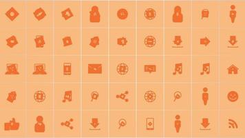 ícones de rede de movimento em fundo simples