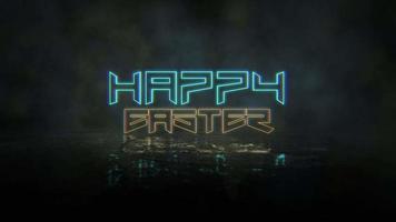 texto de animación feliz pascua y fondo de animación cyberpunk con luces de neón video