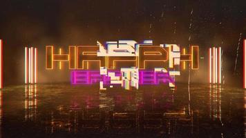 animação texto feliz Páscoa e fundo de animação cyberpunk com luzes de néon na parede da cidade video
