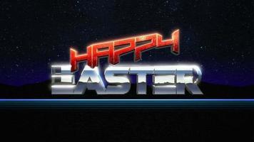 animatietekst vrolijk Pasen en bliksemschichten, retro jaren 90 achtergrond video