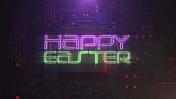 texto de animación feliz pascua y fondo de animación cyberpunk con chip de computadora y luces de neón video