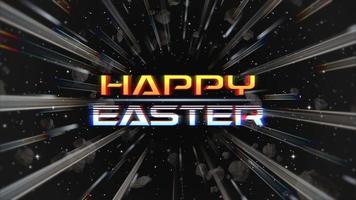 animación texto feliz pascua y movimiento líneas abstractas en galaxia, fondo retro video