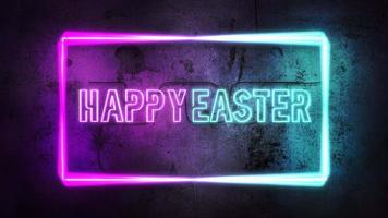 animatietekst vrolijk Pasen en beweging kleurrijke neonlichten op muur, abstracte achtergrond video