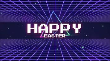 animación texto feliz pascua y retro triángulo abstracto sobre fondo de cuadrícula retro video