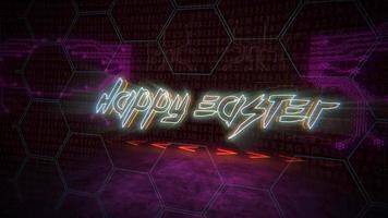 animação texto feliz Páscoa e fundo de animação cyberpunk com chip de computador e luzes de néon video