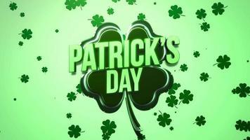 animação closeup dia de São Patrício texto e movimento grandes trevos verdes em fundo brilhante do dia de São Patrício