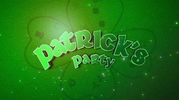 Animation Nahaufnahme St Patricks Party Text und Bewegung große grüne Kleeblätter mit Glitzern auf Saint Patrick Day glänzenden Hintergrund video