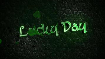 Animation Bewegung Glückstag Text und grüne Blätter von Kleeblättern auf Saint Patrick Day glänzenden Hintergrund video