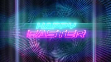 animatietekst vrolijk Pasen en beweging paarse en blauwe discolichten, abstracte achtergrond video