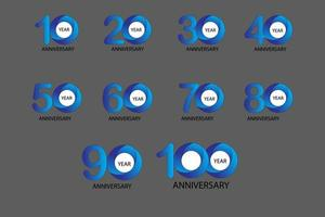 100 Year Anniversary Set 10 20 30 40 50 60 70 80 90 vector