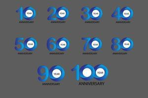 Conjunto de aniversario de 100 años 10 20 30 40 50 60 70 80 90 vector