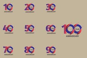 año conjunto de números de aniversario vector