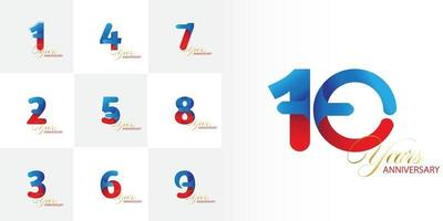 set of 1, 2, 3, 4, 5, 6, 7, 8, 9, 10  Year Anniversary number celebration set vector