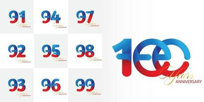 set of 91, 92, 93, 94, 95, 96, 97, 98, 99, 100  Year Anniversary numbers set vector
