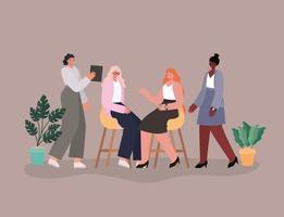 Interracial businesswomen together vector