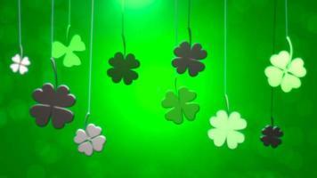 animation motion petits trèfles verts sur fond brillant de jour de saint patrick