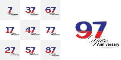 set 7, 17, 27, 37, 47, 57, 67, 77, 87, 97  Year Anniversary celebration numbers set vector