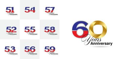 set 51, 52, 53, 54, 55, 56, 57, 58, 59, 60  Year Anniversary celebration numbers set vector