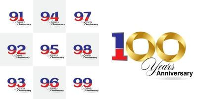 set 91, 92, 93, 94, 95, 96, 97, 98, 99, 100  Year Anniversary celebration numbers set vector