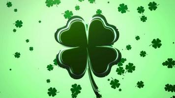 animação closeup movimento grandes e pequenos trevos verdes no fundo brilhante do dia de São Patrício