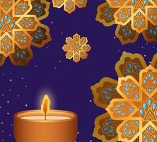 Happy diwali candle and gold flowers on blue background vector design