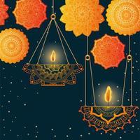 Happy diwali hanging candles with orange mandalas vector design