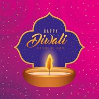 Happy diwali candle on a mandala background vector design