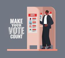 Afro man at voting booth with make your vote count text vector design