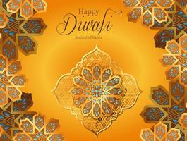 Happy diwali gold flowers on yellow background vector design
