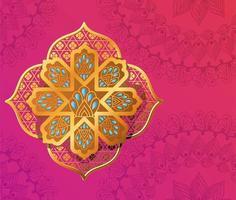gold flower on a mandala background vector design