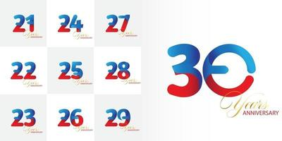 set 21, 22, 23, 24, 25, 25, 26, 27, 28, 29, 30  Year Anniversary celebration set vector