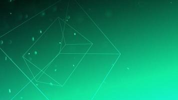 Forma geométrica de movimiento con partículas en el espacio, fondo oscuro verde abstracto video