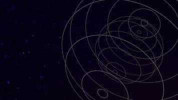 cercles géométriques de mouvement avec des particules dans l'espace, fond sombre noir abstrait video