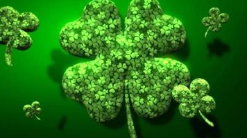 Animation Nahaufnahme Bewegung große und kleine grüne Kleeblätter auf Saint Patrick Day glänzenden Hintergrund video