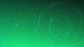 Esfera geométrica de movimiento con partículas en el espacio, fondo oscuro verde abstracto video